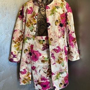 Floral 2-Pc Jacket & Skirt Set